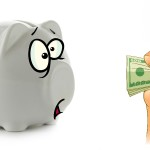 Piggy bank isolated over a white background